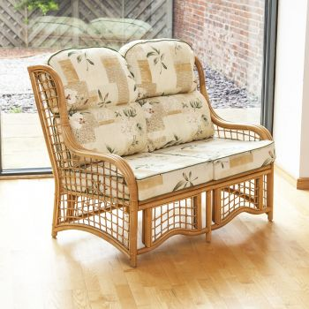 Bali 2 Seater Cane and Square Lattice Conservatory Sofa - Harrogate Natural