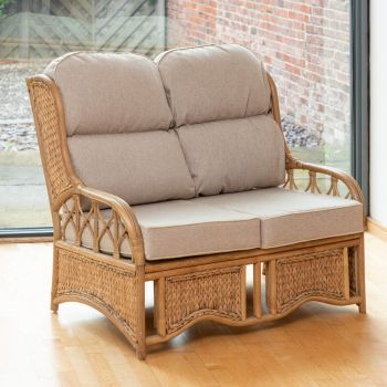 Java 2 Seater Cane Conservatory Sofa - Low Back Arran Natural