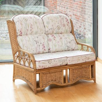 Java 2 Seater Cane Conservatory Sofa - Low Back Wild Flower Heather