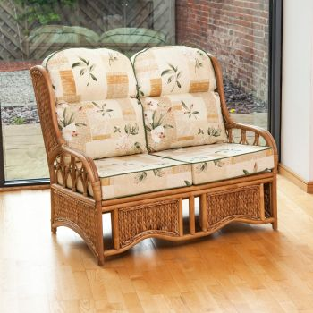 Java 2 Seater Cane Conservatory Sofa - Low Back Harrogate Natural