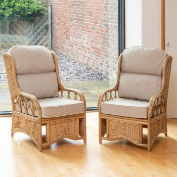 2 Java Cane Conservatory Armchairs - Low Back Arran Natural