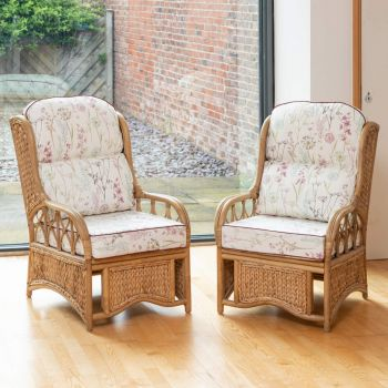 2 Java Cane Conservatory Armchairs - Low Back Wild Flower Heather