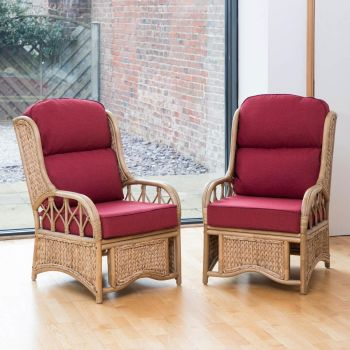 2 Java Cane Conservatory Armchairs - Low Back Premium Chilli