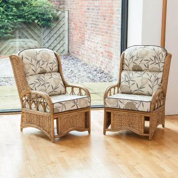2 Java Cane Conservatory Armchairs - Low Back Bamboo Natural