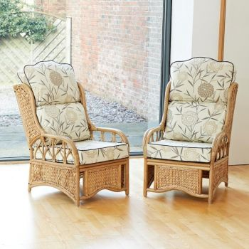 2 Java Cane Conservatory Armchairs - High Back Bamboo Natural