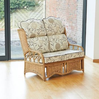 Java 2 Seater Cane Conservatory Sofa - High Back Bamboo Natural