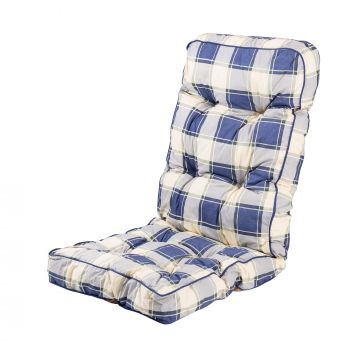 Classic Recliner Cushion in Blue Check