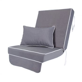 Single Luxury Garden Swing Seat Cushion - Grey