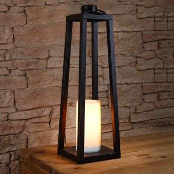 63cm Solar Power Tall Iron Lantern with Flickering Flame Candle