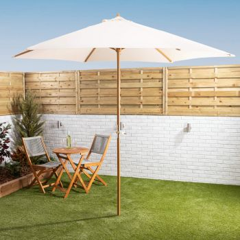 3mtr Wooden Parasol With Crank