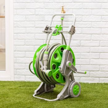 Portable Hose Reel 60M Cart Set with Wheels – 9 Setting Spray Gun and Auto Wind-Up Guiding System