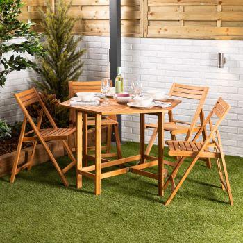 Wooden Garden Folding Drop Leaf Dining Set