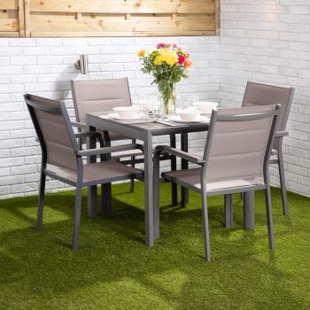 Mykonos 4 Seater Dining Set - Square Table with Four Texteline Chairs