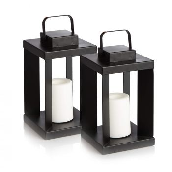 Set of Two Indoor Flickering Flame Lanterns - Battery Operated Soft Lighting