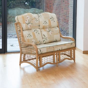 Bali 2 Seater Cane and Square Lattice Conservatory Sofa - High Back Harrogate Natural
