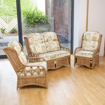 Java Cane Conservatory Set - Low Back Harrogate Natural