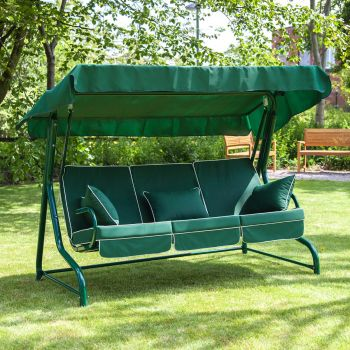 3 Seater Swing Seat with Luxury Cushions (Green Frame)