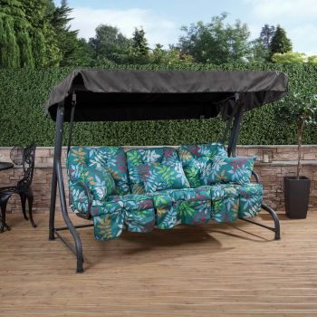 3 Seater Swing Seat with Classic Cushions (Charcoal Frame)