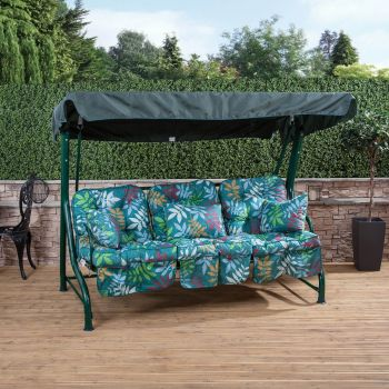 3 Seater Swing Seat with Classic Cushions (Green Frame)