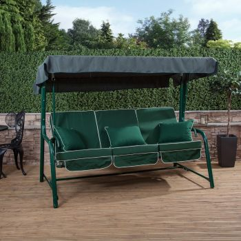 3 Seater Reclining Swing Seat with Luxury Cushions (Green Frame)