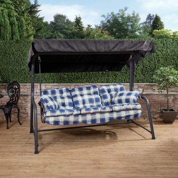 3 Seater Reclining Swing Seat with Classic Cushions (Charcoal Frame)
