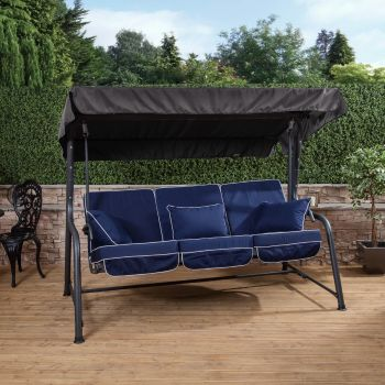 3 Seater Reclining Swing Seat with Luxury Cushions (Charcoal Frame)