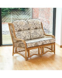 Bali 2 Seater Cane and Square Lattice Conservatory Sofa - Bamboo Natural