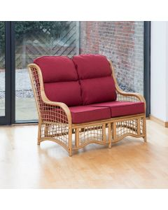 Bali 2 Seater Cane and Square Lattice Conservatory Sofa - Burgundy Chilli