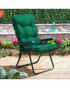 GREEN RECLINER FRAME PLAIN GREEN CUSHION