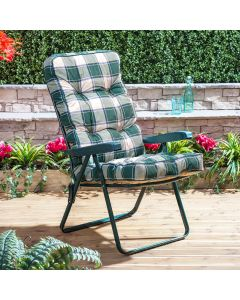 GREEN RECLINER FRAME GREEN CHECK CUSHION