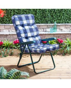 GREEN RECLINER FRAME BLUE CHECK CUSHION