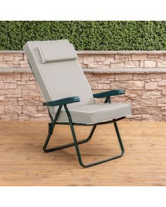 Recliner Chair - Green Frame with Luxury Taupe Cushion