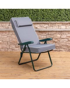 GRN RECLINER + LUX CUSH&HR GREY/WHITE