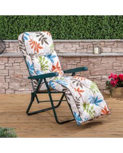 Relaxer Chair - Green Frame with Classic Alexandra Beige Leaf Cushion