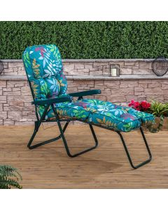 Sun Lounger - Green Frame with Classic Alexandra Green Leaf Cushion