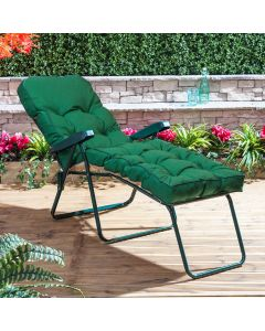 GREEN LOUNGER FRAME PLAIN GREEN CUSHION