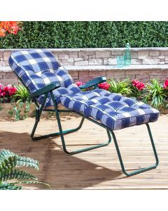 Sun Lounger - Green Frame with Classic Blue Check Cushion
