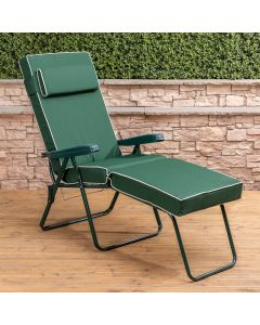 Sun Lounger - Green Frame with Luxury Cushion