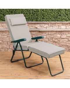 Sun Lounger Chair - Green Frame with Luxury Taupe Cushion