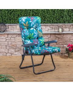 Recliner Chair - Charcoal Frame with Classic Alexandra Green Leaf Cushion