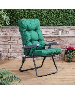 Recliner Chair - Charcoal Frame with Classic Green Cushion
