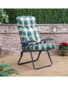 Recliner Chair - Charcoal Frame with Classic Green Check Cushion