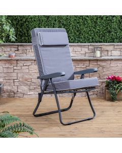 Recliner Chair - Charcoal Frame with Luxury Grey Cushion