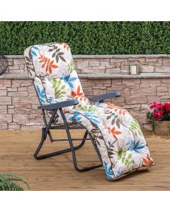 Relaxer Chair - Charcoal Frame with Classic Alexandra Beige Leaf Cushion