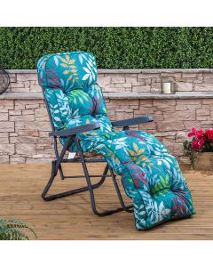Relaxer Chair - Charcoal Frame with Classic Alexandra Green Leaf Cushion