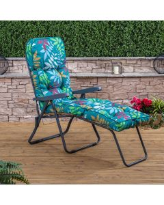 Sun Lounger - Charcoal Frame with Classic Alexandra Green Leaf Cushion