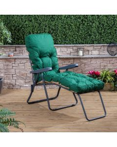 CHARCOAL SUNLOUNGER CLASSIC GRN CUSHION