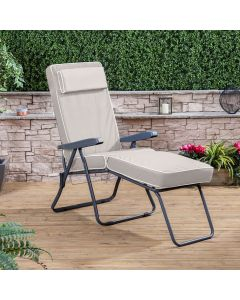 Sun Lounger - Charcoal Frame with Luxury Taupe Cushion