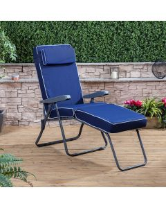 CHARCOAL SUNLOUNGER LUX NAVY BLUE CUSH
