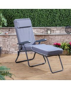 CHARCOAL SUNLOUNGER LUX GREY CUSHION